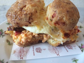 Egg, pimiento cheese & sausage on a bacon biscuit, Callie's Hot Little Biscuit, Charleston
